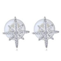 silver needles sonwflake pearl earring 26036