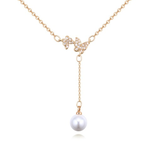 Butterfly Pearl drop Necklace 26413