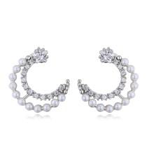 silver needles moon earring 26073