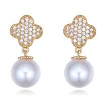 silver needles flower pearl earring 26395