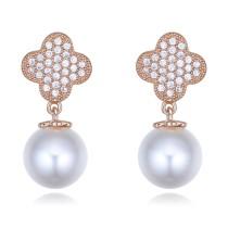 silver needles flower pearl earring 26396