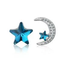 Star moon asymmetrical earrings 659