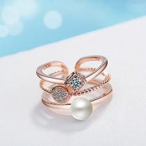 Geometric pearl ring XZR197a
