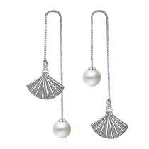 Fan-shaped pearl earrings 235