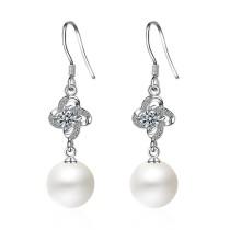 flower pearl long earring XZE242w