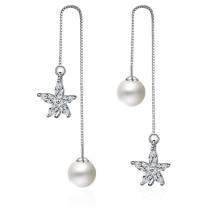 flower pearl long earring 234
