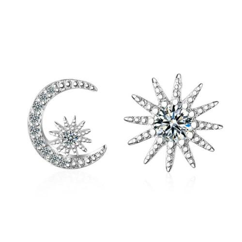 Asymmetrical star moon earrings 582