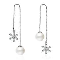 flower pearl long earring XZE243w