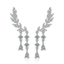 Fringed long leaf earrings 736
