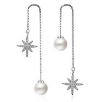snowflake pearl long earring 229