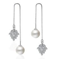 flower pearl long earring XZE244w