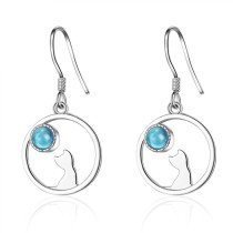 round cat earring 412