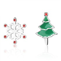 Snowflake Christmas Tree Earrings 741