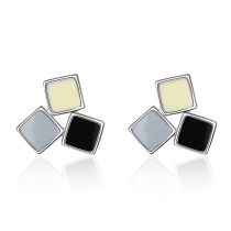 Tricolor square earrings 746