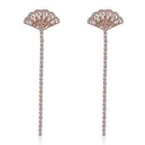 Scalloped long earrings XZE536a