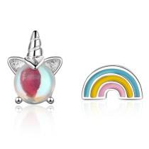 Unicorn asymmetric rainbow stud earrings 786