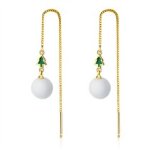 Christmas tree long peal earrings 628