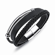 Multi-layer leather bangle(21.5cm) gb06171210j
