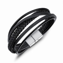 Multi-layer leather bangle gb06171094g