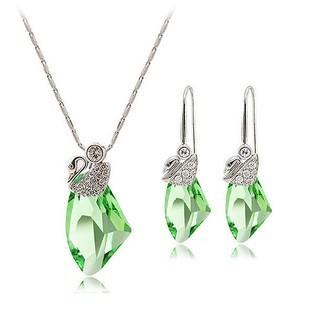 silver Austria crystal  pendant set 080508