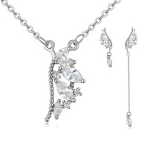 Silver needles wing jewelry set 25875