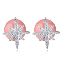 silver needles sonwflake pearl earring 26039
