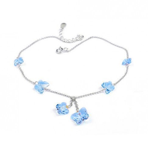 silver Butterfly crystal Anklets 970813