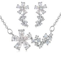 silver needles flower jewelry set 25877