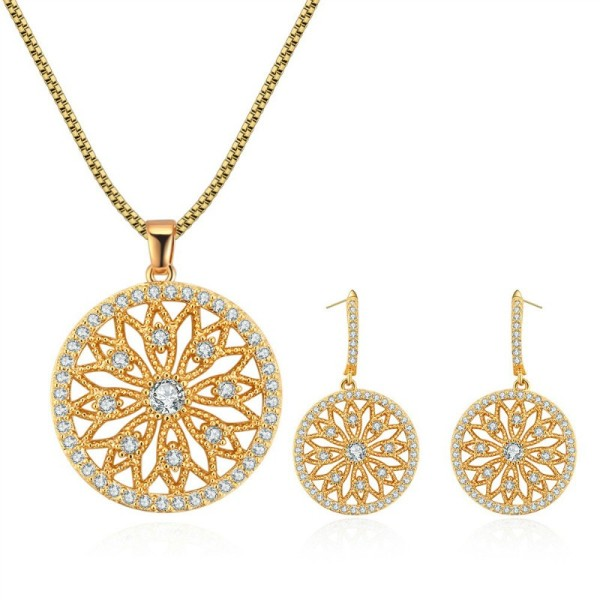 Hollow flower jewelry set 28911