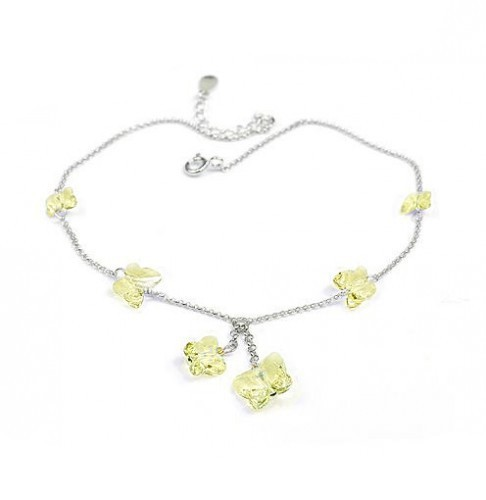 silver Butterfly crystal Anklets 970815