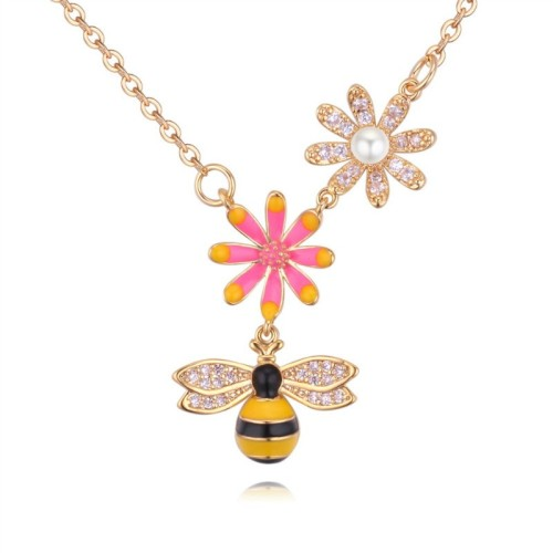 Bee flower crystal necklace 28803