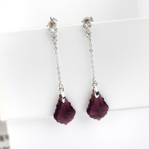 long crystal earring 16mm