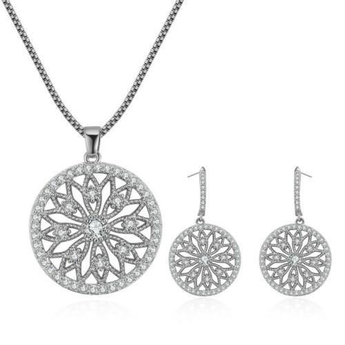 Hollow flower jewelry set 28909