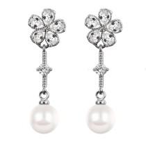flower pearl long earring