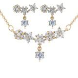 silver needles flower jewelry set 25880