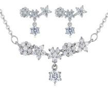silver needles flower jewelry set 25879