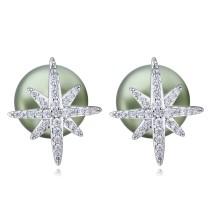 silver needles sonwflake pearl earring 26035