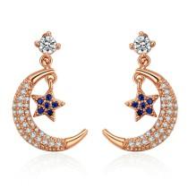 Silver needle moon star earring 28683