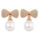 Bow pearl earrings
