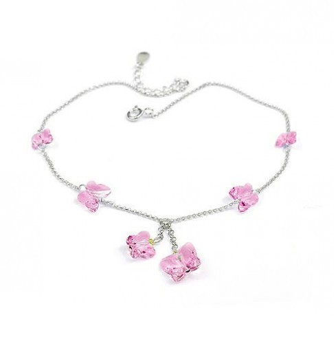 silver Butterfly crystal Anklets 970812