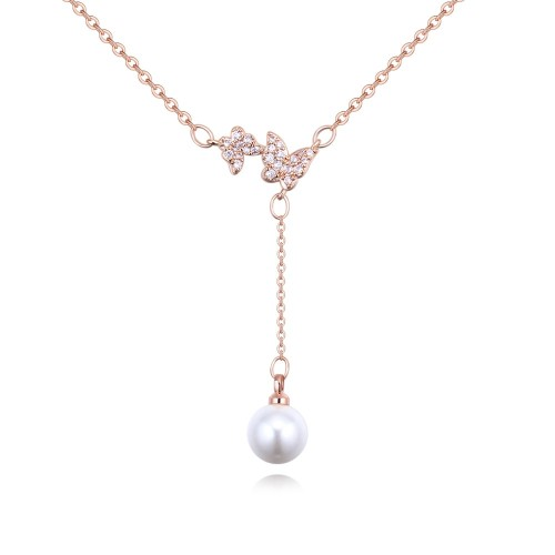Butterfly Pearl drop Necklace 26414