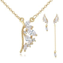 Silver needles wing jewelry set 25873