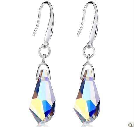 silver crystal earring070117