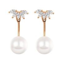 flower pearl zircon earring