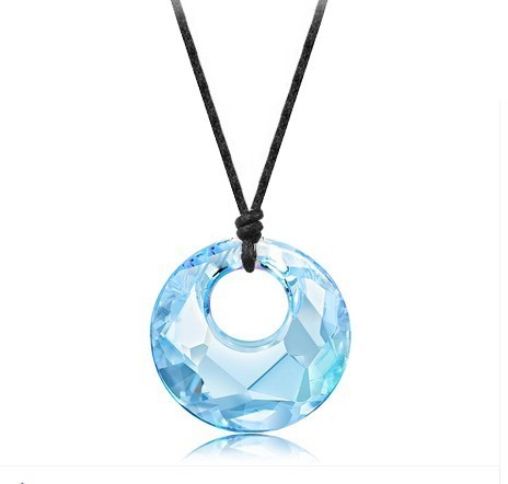 silver crystal necklace062746(28mm)