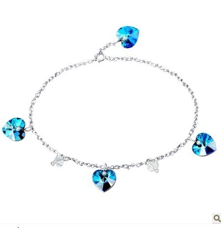 silver crystal Anklets063002