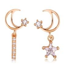 Silver needle star earring 28675