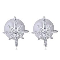 silver needles sonwflake pearl earring 26038