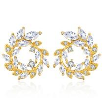Silver needle round earrings 28679
