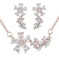 silver needles flower jewelry set 25878